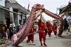 Dragon-dance on streets to welcome Nghinh Ong Festival.