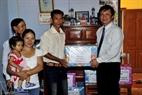 Giving presents to people on Truong Sa Lon Island.