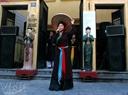女歌手在河内古街演唱。