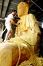 It takes the artisans 4-5 months to complete the wooden part of this statue.