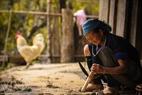 Mujer Mong trabajando.