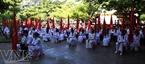 La cour de l'école de Ly Son le jour de la rentrée des classes.
