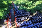 The panoramic view of the opening ceremony at Ly Son High School.