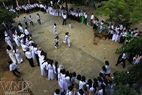 "Students participate in a folk game entitled ""Robbing the flag on the sea"""