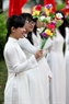 Hanoi female students are graceful in Ao dai.