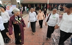 The village elders go to Phuong Trung Pagoda near the village communal house on the festival.