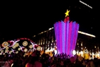 Streets in Ho Chi Minh City are packed with people on New Year's Eve. Photo: Kim Phuong/VNP