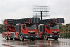 Two fire engines, with turntable ladders have a net weight of 22-24 tonnes and an access height of 32-52 metres, are in charge of fire fighting and rescue services. Photo: Tran Thanh Giang/VNP