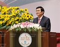 Vietnam's State President Truong Tan Sang delivers a welcome speech. Photo: VNA