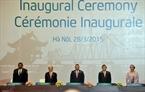 Chủ tịch nước Trương Tấn Sang (thứ hai từ phải sang), Chủ tịch Quốc hội Nguyễn Sinh Hùng (thứ hai từ trái sang), Chủ tịch Liên minh Nghị viện Thế giới Saber Chowdhury (giữa), Trợ lý Tổng Thư ký Liên hiệp quốc Amina Mohammed (ngoài cùng bên phải) dự Lễ khai mạc. Ảnh: TTXVN