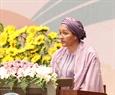 Bà Amina Mohammed, Trợ lý Tổng Thư ký Liên hiệp quốc đọc thông điệp của Tổng Thư ký Liên hợp quốc. Ảnh: TTXVN