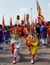The Sinh tien dancing team at the festival.