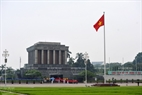 The national flag flies at Ba Dinh Square after the flag raising ceremony.