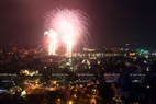 Fireworks displays blasted off in five places at 9pm.