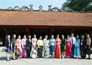 Wives of the leaders attending the summits visit Van Mieu – Quoc Tu Giam (The First National University - the Temple of Literature) in Hanoi. Photo: VNA