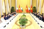 Chủ tịch nước Trần Đại Quang và Tổng thống Htin Kyaw tiến hành hội đàm. Ảnh: Nhan Sáng/TTXVN