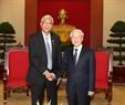 Tổng Bí thư Nguyễn Phú Trọng tiếp Tổng thống Htin Kyaw. Ảnh: Trí Dũng/TTXVN