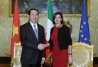Президент СРВ Чан Дай Куанг провел встречу с Председателем нижней палаты Парламента Италии Лаурой Болдрини. Фото: Нян Шанг - ВИА