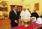 Президент СРВ Чан Дай Куанг посетил Ватикан и провел встречу с Папой Римским Франциском. Фото: Нян Шанг - ВИА