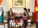Chủ tịch Quốc hội tiếp Tổng Bí thư Đảng Cộng sản Ấn Độ Mác-xít Sitaram Yecchury. Ảnh: Trọng Đức/TTXVN