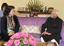 La présidente de l'A.N Nguyên Thi Kim Ngân a eu une rencontre avec le vice – président et président du Sénat indien, Mohammad Hamid Ansari. Photo : Trong Duc/AVI