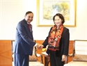 La présidente de l'A.N a reçu le dirigeant de la compagnie du pétrole et du gaz (ONGC) Videsh. Photo : Trong Duc/AVI