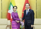 Within the framework of APEC Economic Leaders' Week, State President Tran Dai Quang had a bilateral meeting with Myanmar State Advisor Aung San Suu Kyi in the afternoon of November 9, 2017 in Da Nang. Photo: VNA