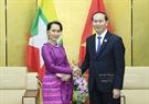 ເນື່ອງໃນໂອກາດສັບປະດາຂັ້ນສູງ APEC 2017, ຕອນບ່າຍວັນທີ 9 ພະຈິກ 2017, ທີ່ນະຄອນ ດ່າໜັງ, ທ່ານ ເຈີ່ນດ້າຍກວາງ, ປະທານປະເທດແຫ່ງ ສສ. ຫວຽດນາມ ໄດ້ມີການພົບປະສອງຝ່າຍກັບທ່ານນາງ Aung San Suu Kyi, ທີ່ປຶກສາແຫ່ງລັດ ມຽນມາ. ພາບ: VNA