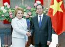 越南国家主席陈大光接见俄联邦委员会主席瓦莲京娜•伊万诺芙娜•马特维延科。越通社记者 颜创 摄