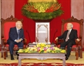 Party General Secretary Nguyen Phu Trong receives Israeli President Reuven Rivlin during his State-level visit to Vietnam. Photo: Tri Dung/VNA