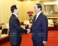 왕자루이(王家瑞) 중국 전국인민정치협상회의(정협) 부주석이 잔다이꽝(Trần Đại Quang)국가주석을 예방하고있다. 사진:난상(Nhan Sáng)/베트남 통신사