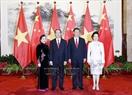 Tổng Bí thư, Chủ tịch nước Trung Quốc Tập Cận Bình và Phu nhân đón Chủ tịch nước Trần Đại Quang và Phu nhân. Ảnh: Nhan Sáng/TTXVN