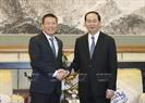 Chủ tịch nước Trần Đại Quang tiếp Chủ tịch Công ty Texhong Hồng Thiên Trúc. Ảnh/Nhan Sáng/TTXVN