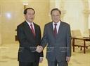 잔다이꽝(Trần Đại Quang)국가주석이 12일오후 베이징 인민대회당에서 중국인민정치 협상회의 위정성주석과 만남을 가지고있다. 사진:난상(Nhan Sáng)/베트남 통신사
