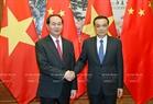 잔다이꽝(Trần Đại Quang)국가주석이 12일오후 베이징 인민대회당에서 리커창 총리와  만남을 가지고있다. 사진:난상(Nhan Sáng)/베트남 통신사