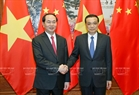 At the Great Hall of the People in Beijing, State President Tran Dai Quang has a meeting with Chinese Premier Li Keqiang. Photo: Nhan Sang/VNA