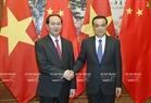 5月12日下午在首都北京人民大会堂,越南国家主席陈大光会见中华人民共和国国务院总理李克强。越通社记者  颜创 摄