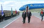 Chủ tịch nước Trần Đại Quang duyệt đội danh dự tại Lễ đón chính thức ở sân bay Vnukovo 2. Ảnh: Nhan Sáng/TTXVN