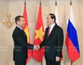 On the morning of June 29, 2017, Vietnamese head of state Trân Dai Quang had an interview on June 29 in Moscow with Russian Prime Minister Dmitry Medvedev. Photo: Nhan Sang / VNA