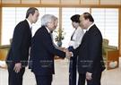 Previously, Phuc and his spouse meet with Japanese Emperor Akihito and Empress Michiko. Photo: Thong Nhat /VNA