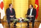访日期间,6月4日下午,阮春福总理会见日本茨城县(Ibaraki)知事桥本昌(Masaru Hashimoto)。越通社记者统一摄