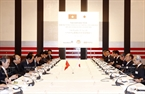 6月5日上午在首都东京,政府总理阮春福与日本商界名流举行圆桌座谈会。越通社记者统一摄