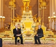 Ngay sau Lễ đón chính thức, tại chính Điện Hoàng Cung ở thủ đô Phnom Penh, Tổng Bí thư Nguyễn Phú Trọng đã tiến hành hội đàm với Quốc vương Campuchia Norodom Sihamoni. Ảnh: Trí Dũng / TTXVN