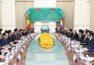 Chiều 20/7/2017, tại Cung Hòa Bình ở Thủ đô Phnom Penh, Tổng Bí thư Nguyễn Phú Trọng hội kiến với Thủ tướng Chính phủ Hoàng gia Campuchia Samdech Hun Sen. Ảnh: Trí Dũng / TTXVN