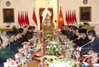 Tổng thống Indonesia Joko Widodo hội đàm với Tổng Bí thư Nguyễn Phú Trọng. Ảnh: Trí Dũng/TTXVN