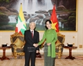 Party General Secretary Nguyen Phu Trong meets privately with Myanmar's State Counsellor and Minister of Foreign Affairs Aung San Suu Kyi at President Palace in Myanmar's capital city Nay Pyi Taw on August 25 as part of his State-level visit to Myanmar. Photo: Tri Dung / VNA