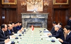 On October 10, the Vietnamese leader also had meetings with Japanese Speaker of the House of Councillors Chuichi Date and Speaker of the House of Representatives of Japan Tadamori Oshima. In the photo: He meets with Japanese Speaker of the House of Councillors Chuichi Date. Photo: Thong Nhat/VNA