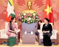 National Assembly Chairwoman Nguyen Thi Kim Ngan hosted a reception for the Myanmar leader in Hanoi on April 20. Photo: Trong Duc/VNA