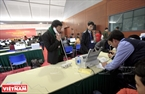 Reporters are provided with computers, internet access and other technical facilities as well as information and images about the Congress. Photo: Trong Chinh
