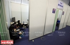 Vietnam News Agency's reporters work  in an exclusive working area at the Press Centre. Photo: Trong Chinh